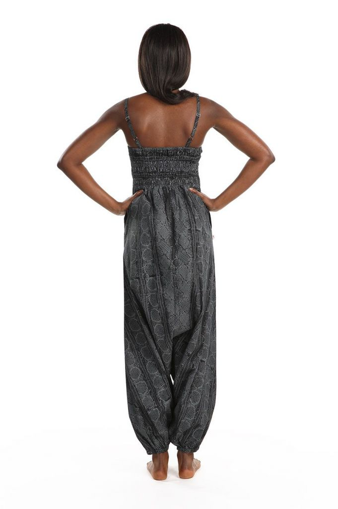 Combinaison sarouel grise à fines bretelles pour un look décontracté Ruline 305590