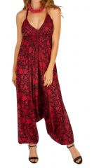 Combinaison sarouel rouge ethnique et chic pour femme Visica 305688