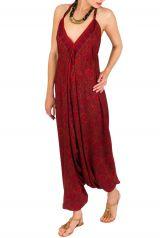 Combinaison-Sarouel tendance avec un cool en v rouge Mely 292473