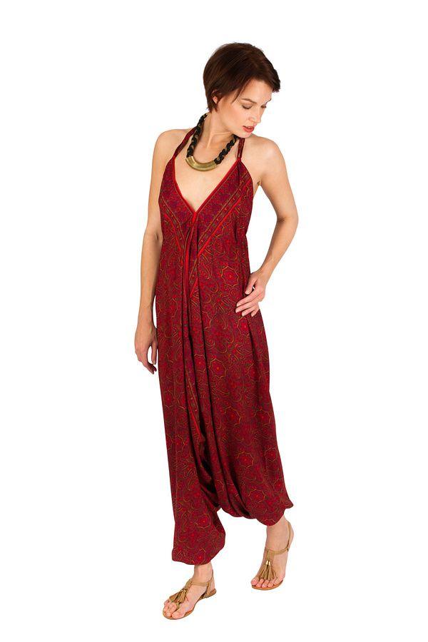 Combinaison-Sarouel tendance avec un cool en v rouge Mely 292474
