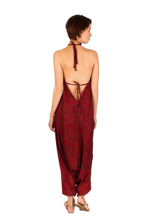 Combinaison-Sarouel tendance avec un cool en v rouge Mely 292475