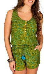 Combinaison-short agréable à porter avec imprimés verte Hindy 293012
