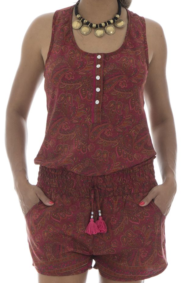 Combinaison short agréable avec ceinture élastique et bretelles larges Tyana 291565
