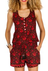 Combinaison-Short all over print avec un col rond rouge Charlyse 292934