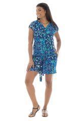 Combinaison short bleue avec manches courtes et imprimés ravissants 289187