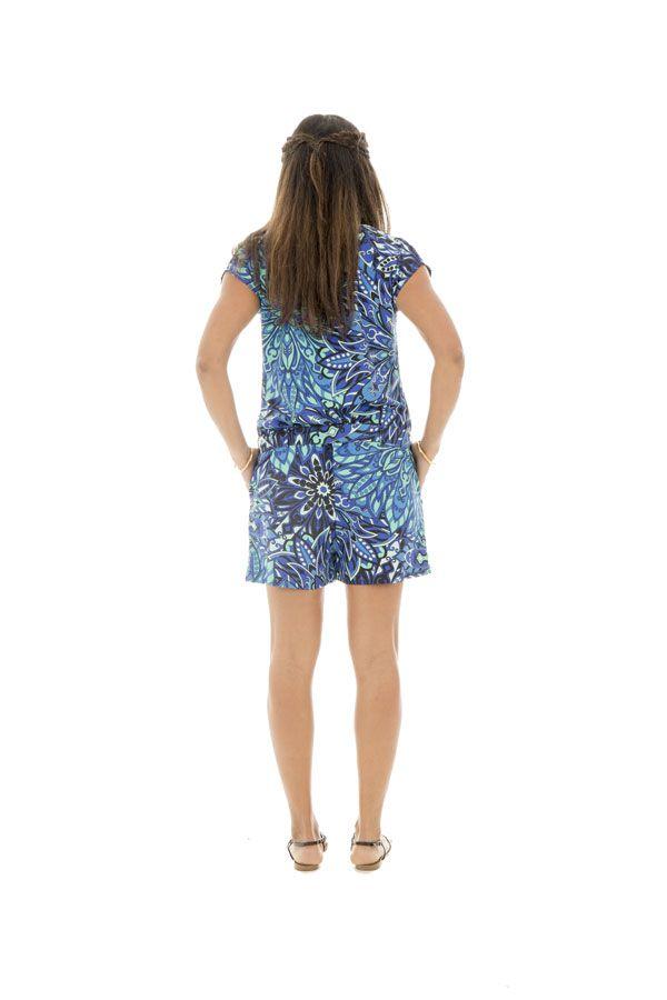 Combinaison short bleue avec manches courtes et imprimés ravissants 289188