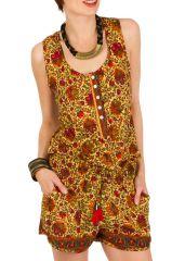 Combinaison-Short colorée avec imprimés fantasques et col rond jaune Prya 292946
