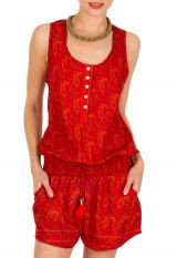 Combinaison-Short coupe fluide avec imprimés paisleys rouge Serena 292868