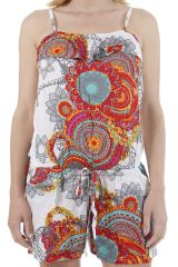 Combinaison short d'été à fines bretelles et colorée Bianca 310911
