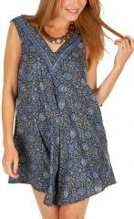 Combinaison short d'été imitation robe courte bleue Ishka 310065