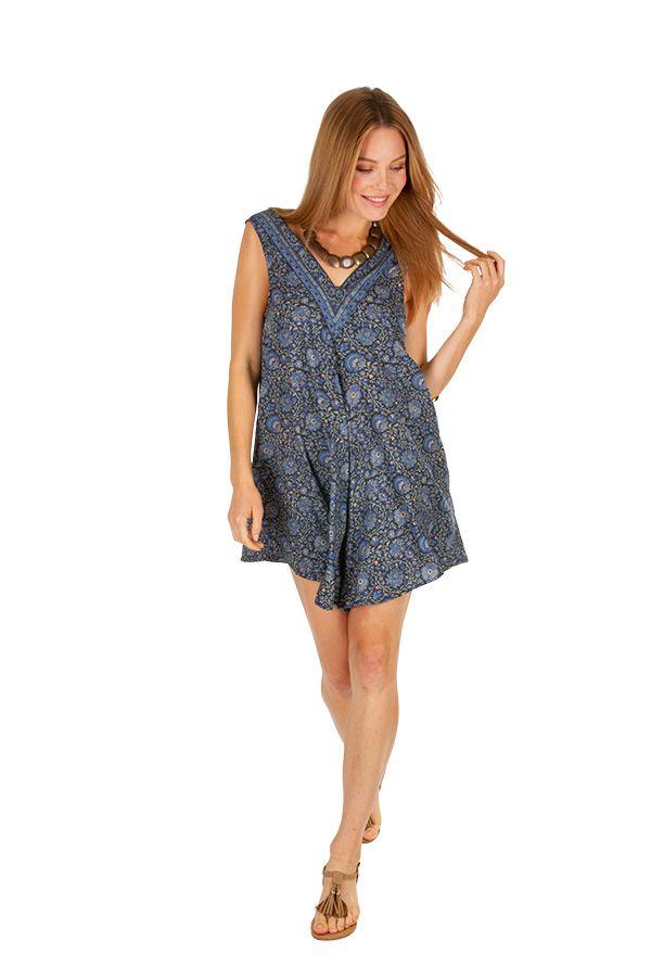 Combinaison short d'été imitation robe courte bleue Ishka 310066