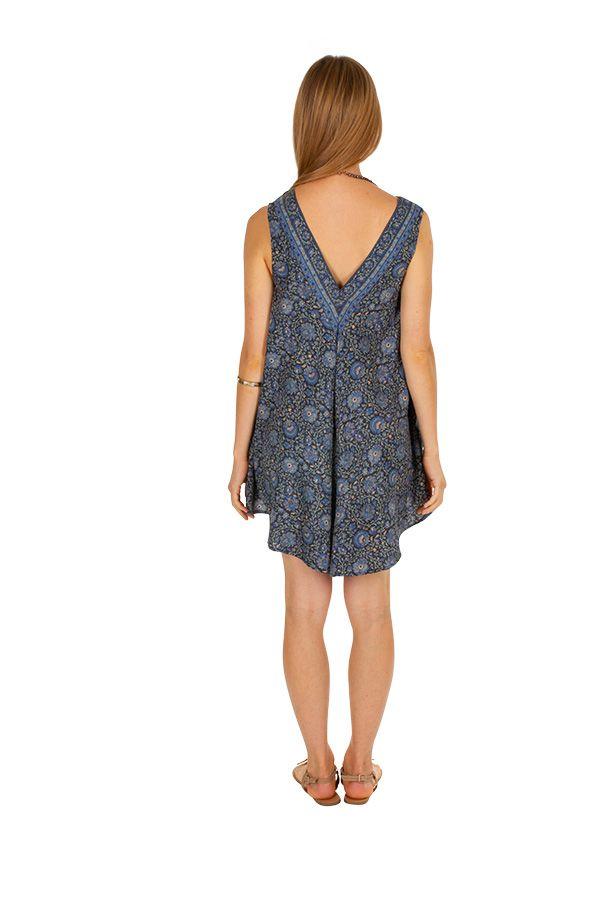 Combinaison short d'été imitation robe courte bleue Ishka 310067