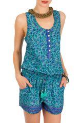 Combinaison-Short décontractée avec smocks à la taille bleue Roxa 292940