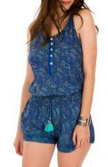 Combinaison-Short élégante avec motifs traditionnels bleue marine Kirsty 292964