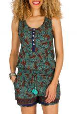 Combinaison-Short fantaisie avec col rond et imprimés bleue Serena 292922
