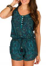 Combinaison-short fashion avec imprimés mandalas bleue océan Marsha 293006