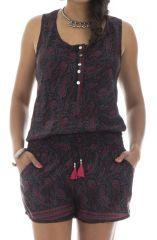 Combinaison short féminine avec col rond et ceinture élastique noire et violette Soléane 291563
