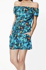 Combinaison short femme ambiance tropical bohème Amarante