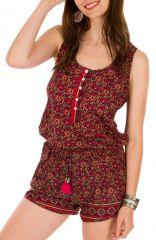 Combinaison-Short glam' avec col rond et imprimés fantaisies fuchsia Selena 292916