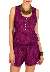 Combinaison-Short idéale pour l'été avec imprimés paisleys violet Kirsty 292976