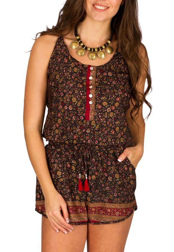 Combinaison-Short look bohème avec smocks à la taille  Selena 292874