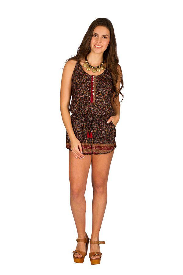 Combinaison-Short look bohème avec smocks à la taille  Selena 292875