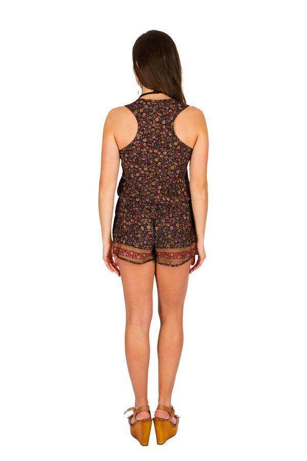 Combinaison-Short look bohème avec smocks à la taille  Selena 292876