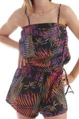 Combinaison-short Noire à fines bretelles avec imprimés palmiers Mélissandre 298016
