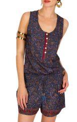 Combinaison-Short originale pourvue d'imprimés ethniques bleue Selena 292910