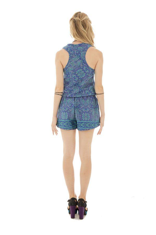 Combinaison short pétillante avec ceinture élastique et bretelles larges Thara 289156