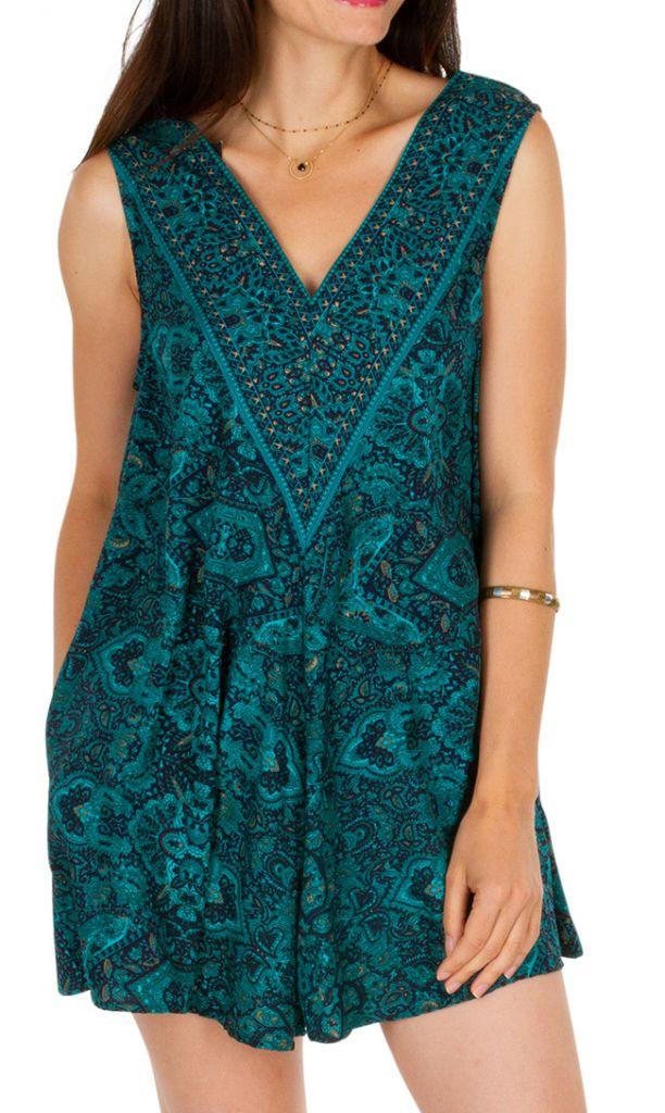 Combishort imprimé turquoise ethnique effet robe original Maxine 305816