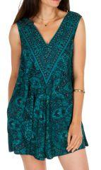 Combishort imprimé turquoise ethnique effet robe original Maxine