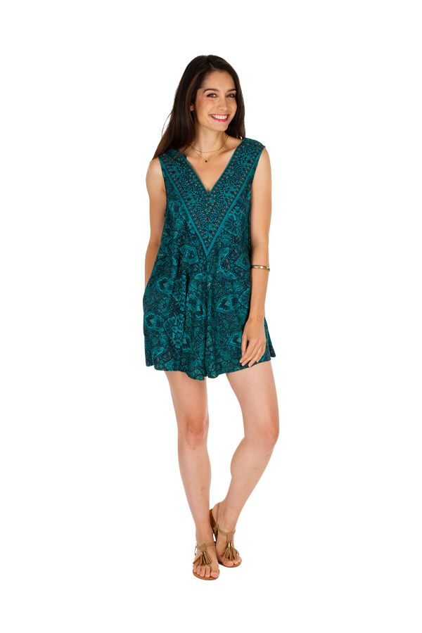 Combishort imprimé turquoise ethnique effet robe original Maxine 305817