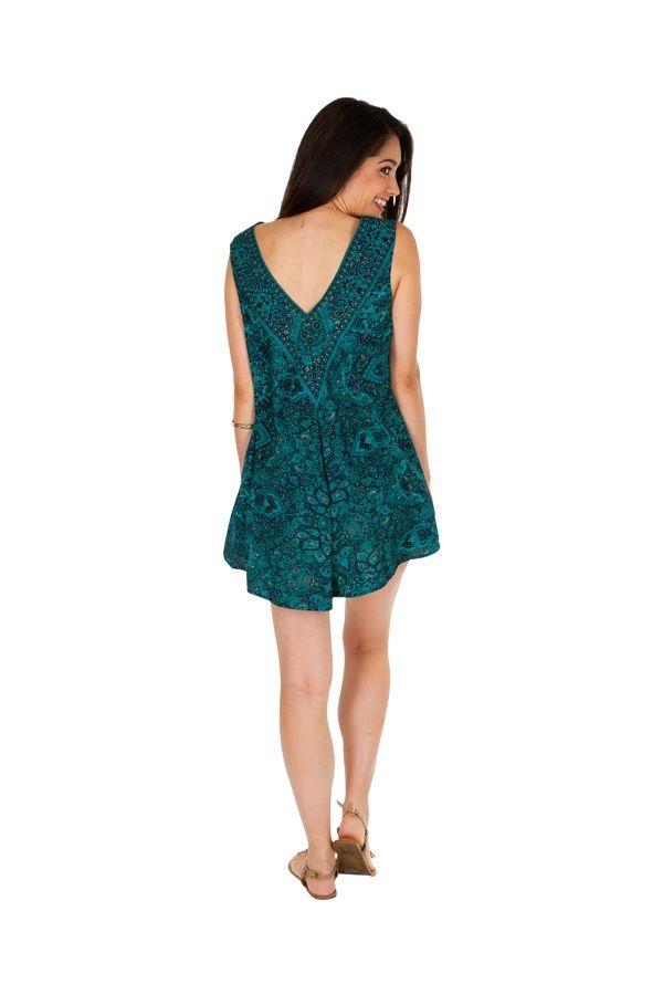 Combishort imprimé turquoise ethnique effet robe original Maxine 305818