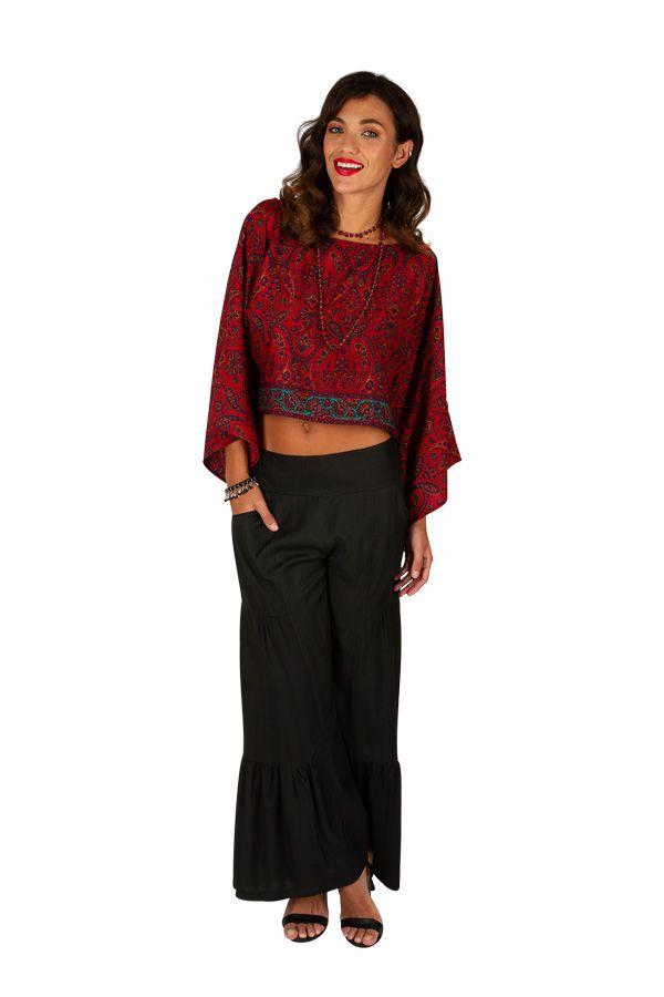Crop top imprimé rouge à volant original et sexy Amy 309062
