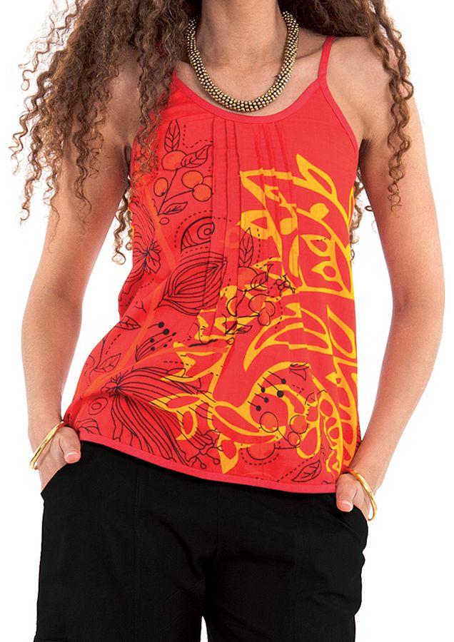 Débardeur Femme à fines bretelles Ethnique et Coloré  Rouge Arnold 281778