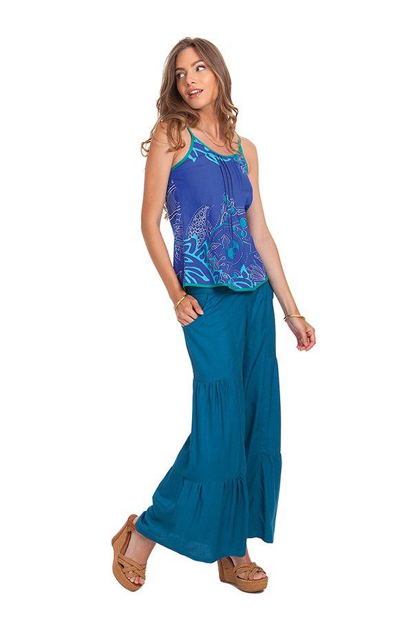 Débardeur Femme Bleu à fines bretelles Ethnique et Coloré Arnold 281776