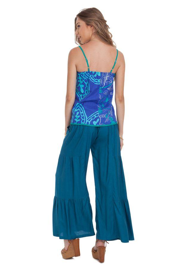 Débardeur Femme Bleu à fines bretelles Ethnique et Coloré Arnold 281777