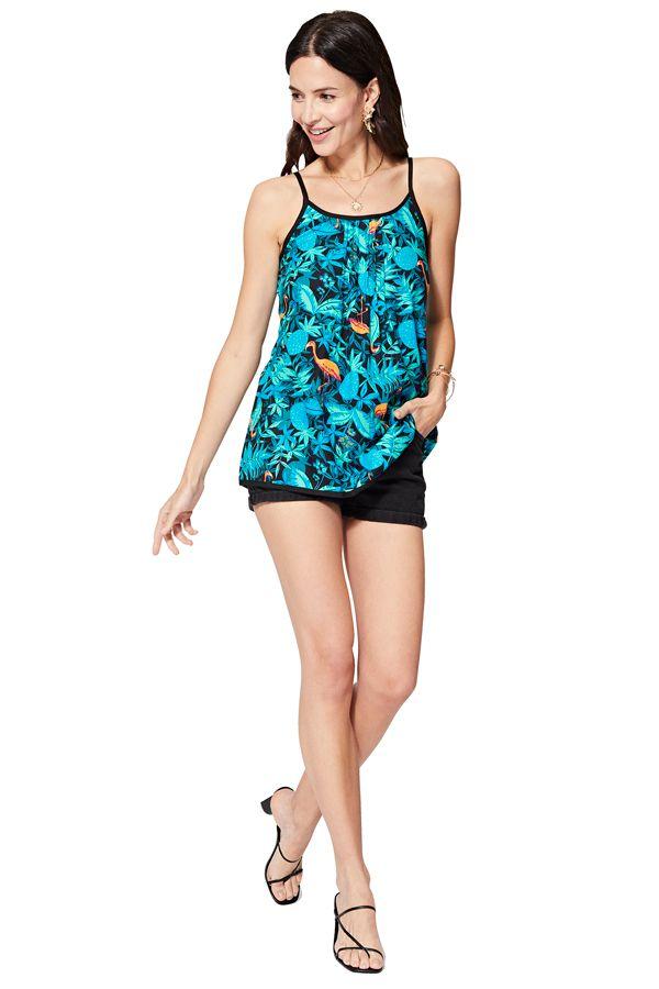 Débardeur femme bleu en coton mode imprimé tropical Kaya