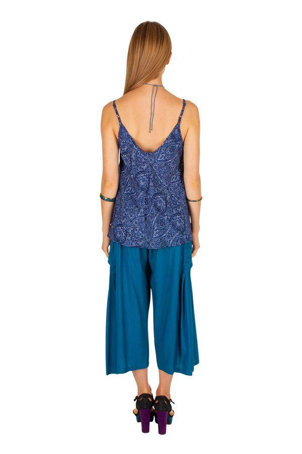 Débardeur femme de couleur bleu avec un imprimé d\'arabesques Zazie