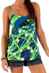 Débardeur pour Femme à fines bretelles Bleu et Vert Imprimé et Original Keneth 285795