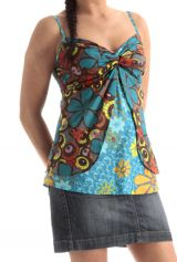 Débardeur pour Femme à fines bretelles Ethnique et Tendance Bleu Miloya 285768