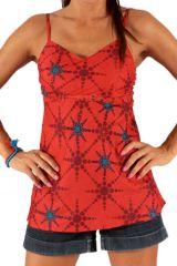 Débardeur pour Femme à fines bretelles Imprimé et Original Rouge Ninho 285786