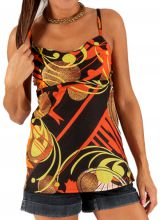 Débardeur pour Femme à fines bretelles Orange et Noir Original et Tendance Iva 285797
