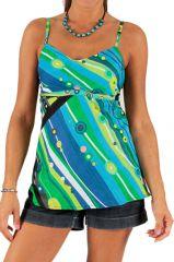 Débardeur pour Femme à fines bretelles Original et Coloré Vert et Bleu Mahia 285789