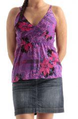 Débardeur pour Femme à fines bretelles Violet Imprimé Fleuri et Coloré Iliana 285758