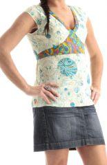 Débardeur pour Femme à large bretelles Orginal et Coloré Blanc Maïmo 285764