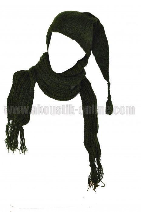 Echarpe à capuche lutin kaki avec col en laine doublé polaire 240693