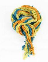 Echarpe en laine du Népal cokka bleu/vert/orange 247806