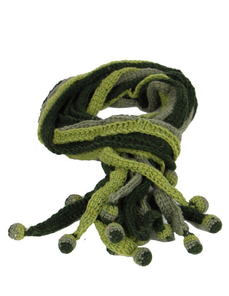 Echarpe en laine du Népal minza anis et kaki 247812